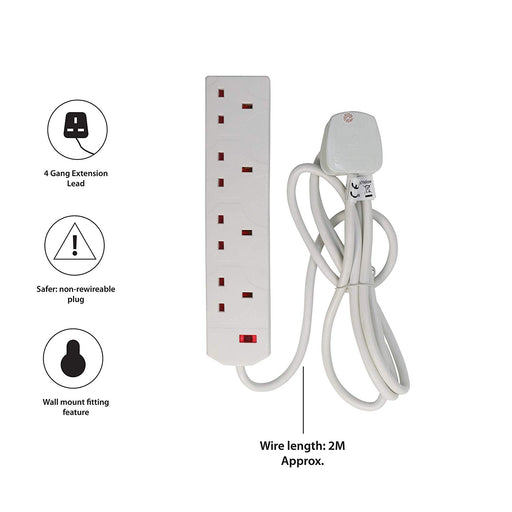 Pifco 4 Way UK 3Pin Plug 13A 250V Extension Lead with 2 Metre High-Quality Cable - Neon Power On Indicator - White