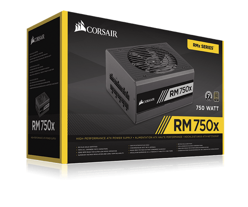 Corsair 750W RMx Series RM750X PSU, Fluid Dynamic Fan, Fully Modular, 80+ Gold