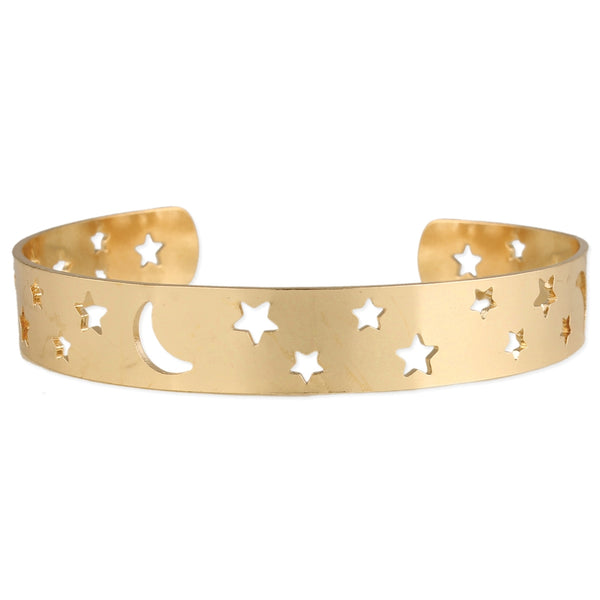 Heart + Moon Gold Bangle Bracelet - JL+KO