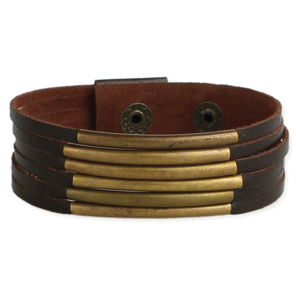 Brown Leather + Gold Bars Bracelet - JL+KO