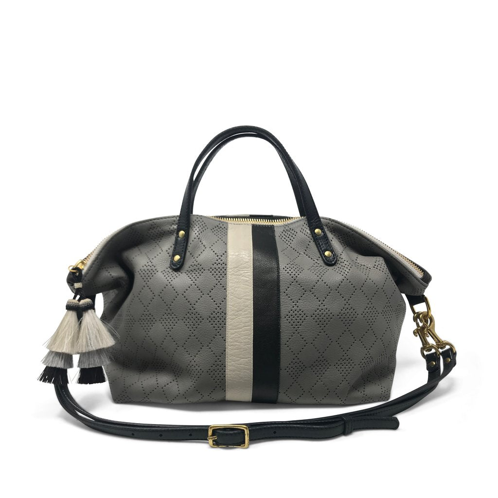 Diamond Perf Devon Holdall Storm Grey/Chalk & Black Stripe