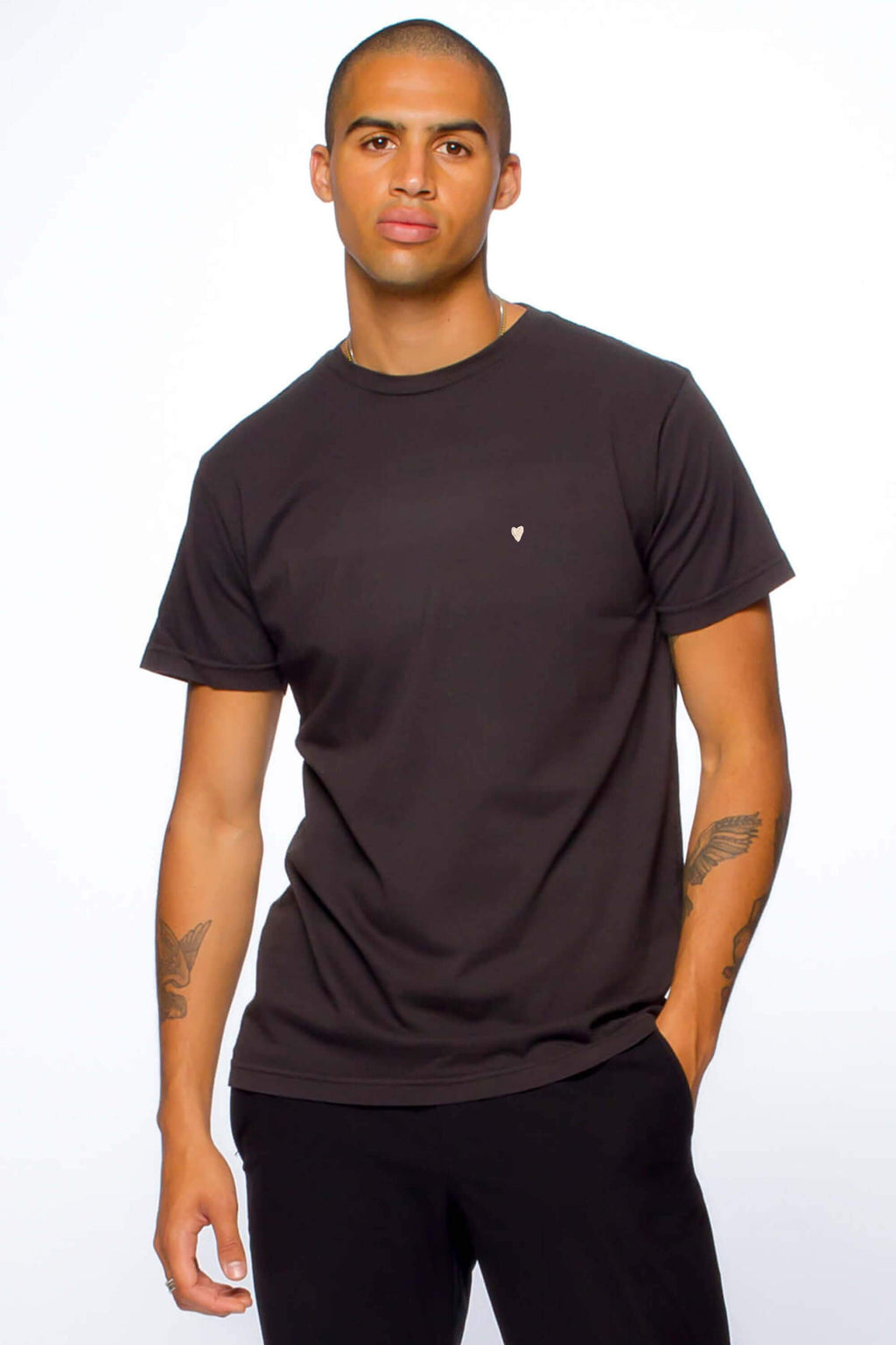 Heart Emb Tee - Black