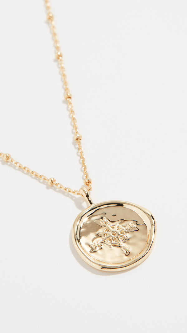 Compass Coin Necklace - Gold