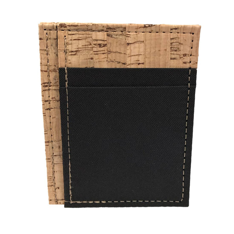 Cork + Black Poly Front Pocket Wallet