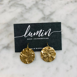 Hammered Circle Earrings - Gold