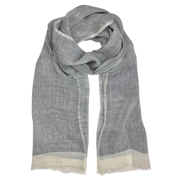 Gauze Linen Two Tone Scarf - French Gray - JL+KO
