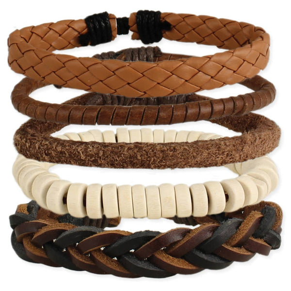 Man About Town Leather Bracelet Set