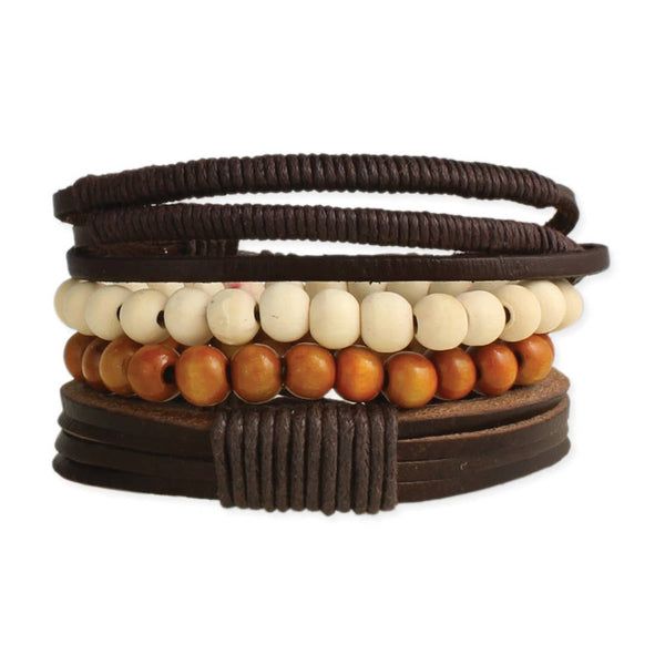 Rustic Leather + Wood Bracelet Set