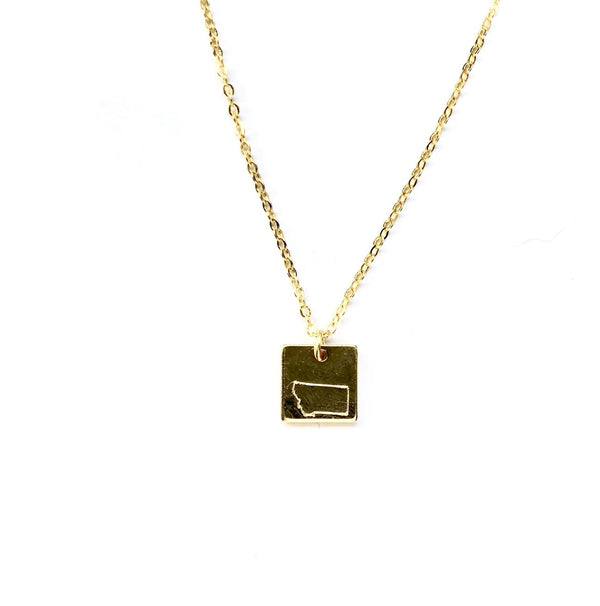 Montana Square Necklace - Gold
