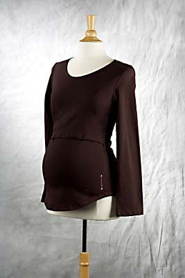 Brown Long Sleeve Mamatotowear Nursing top, Scoop neck with Dot Print