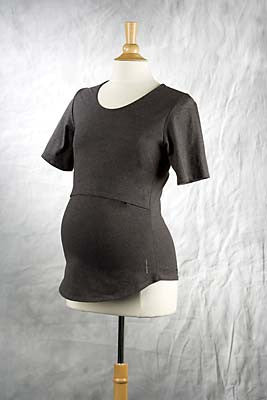 Gray Short Sleeve Organic Mamatotowear Nursing top, Scoop Neck