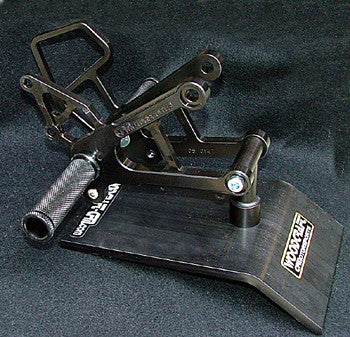 Woodcraft ZX6/636 2007-2008 Complete Rearset Kit W/Shift & Brake Pedals Black: Kawasaki