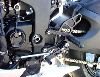 Woodcraft ZX6R '09-12 Rearset Kit Complete W/Brake & Shift Pedals Black: Kawasaki - Tacticalmindz.com