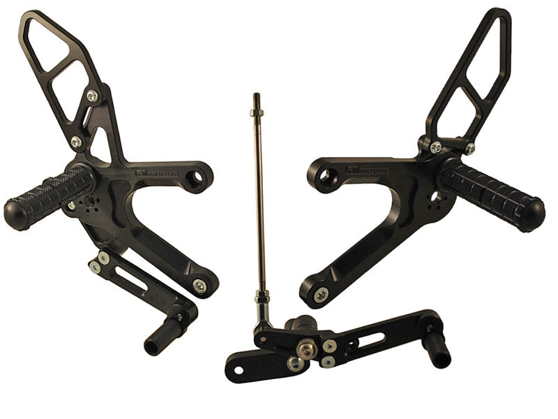 Woodcraft CBR500R 2013 Complete Adjustable Rearset Kit w/Pedals, Standard Shift Black: Honda - Tacticalmindz.com