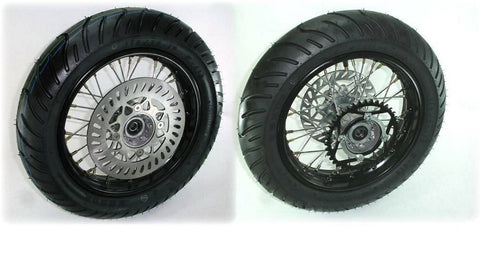 "Piranha 12"" Complete Supermoto Wheel Set"