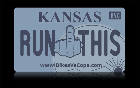 Bikes vs Cops License Plate: Kansas