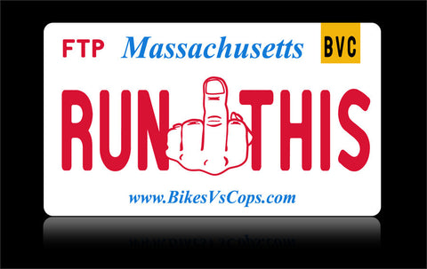 Bikes vs Cops License Plate: Massachusetts