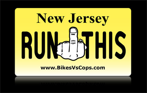 Bikes vs Cops License Plate: New Jersey