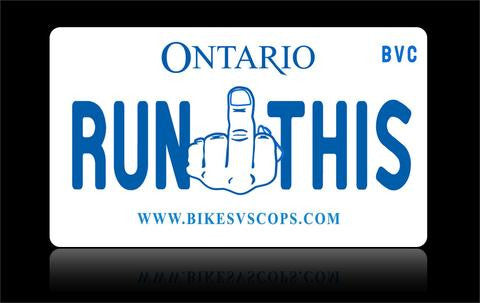 Bikes vs Cops License Plate: Ontario