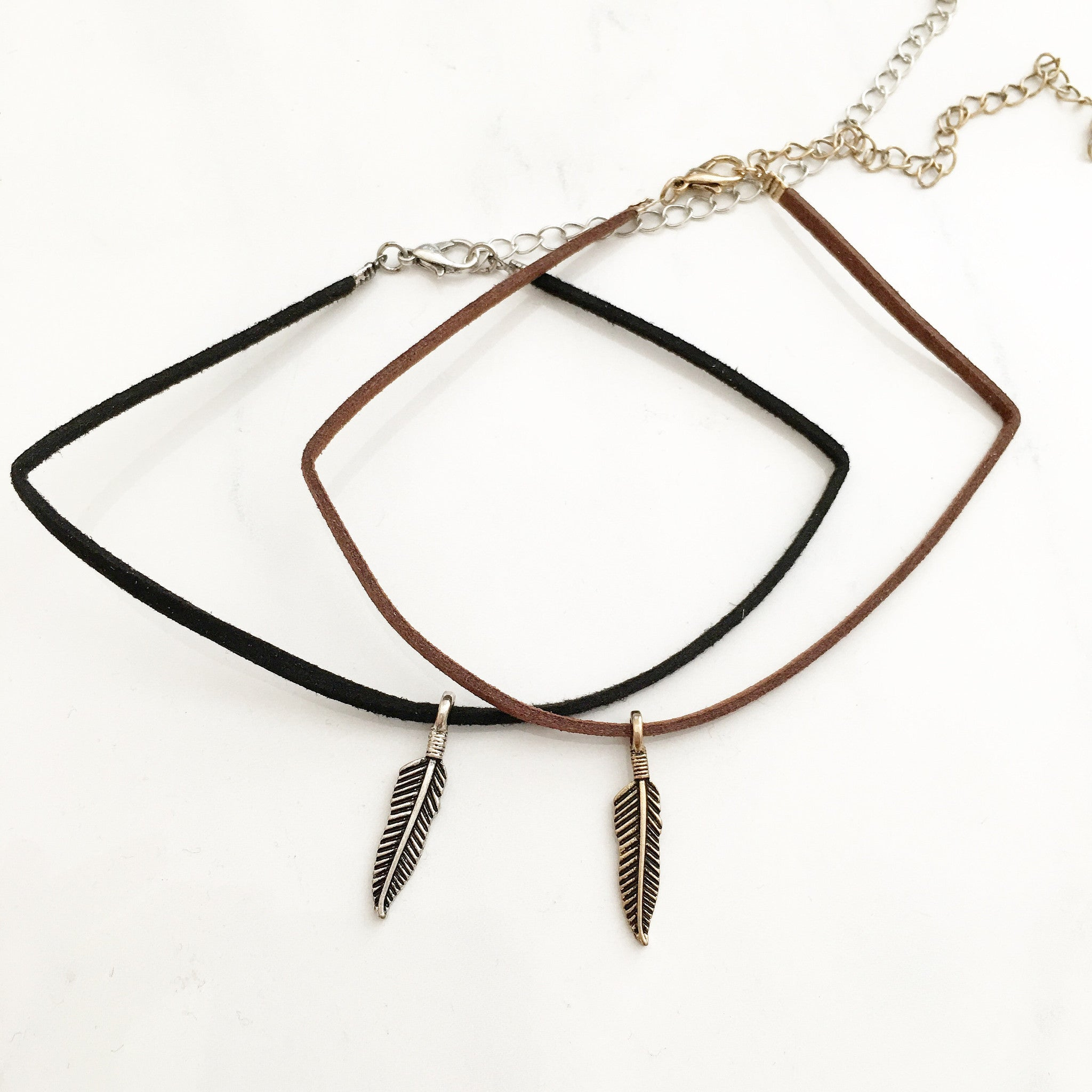 ANTIQUE FEATHER CHOKER -Necklace