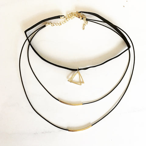 DOUBLE TRIANGLE CHOKER SET - Necklace