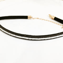 SPARKLE SQUARE STONE CHOKER -Necklace
