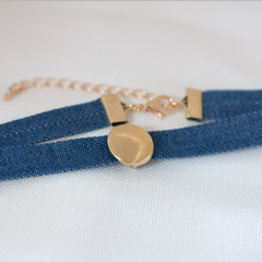 SMALL CHARM DENIM CHOKER -Necklace