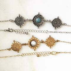ANTIQUE BOHO STONE CHAIN CHOKER -Necklace