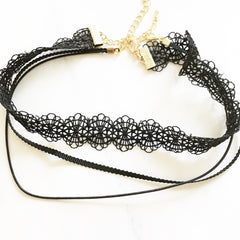 NIGHT LACE CHOKER SET -Necklace