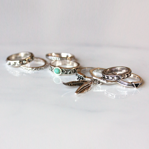 ANTIQUE FEATHER & ARROW SET-Ring