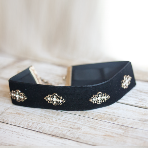 ANTIQUE JEWELED CHOKER - Necklace