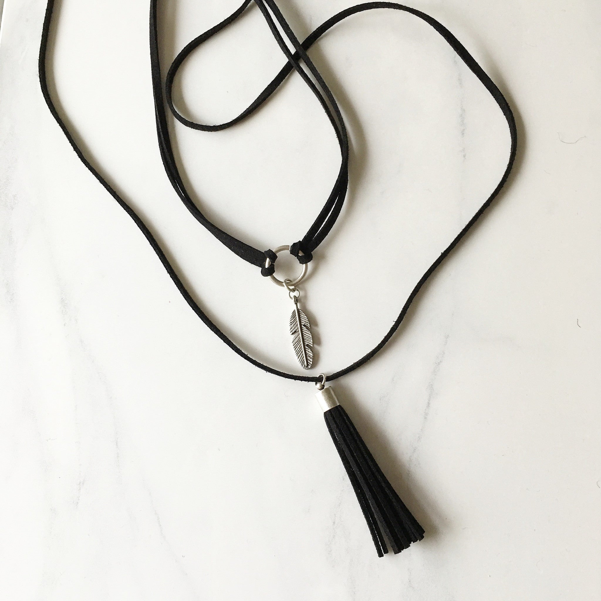 FEATHER + TASSEL SET - Necklace