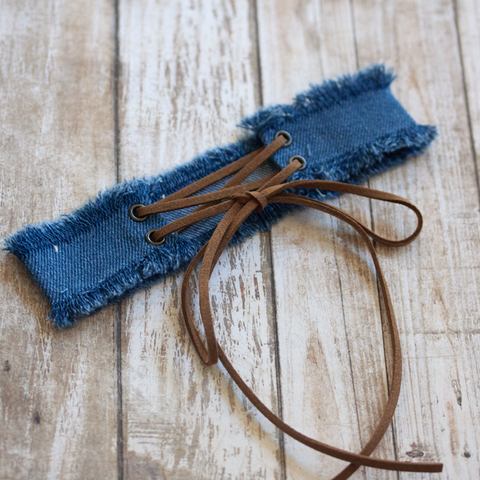 DENIM CONTRAST STRAP CHOKER - Necklace