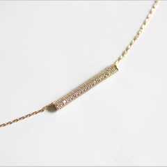 PAVE STONE BAR - NECKLACE