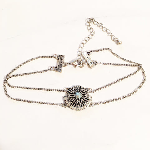 ANTIQUE JEWELED CHAIN CHOKER - Necklace