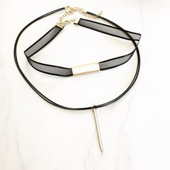 MESH BAR CHOKER SET - Necklace