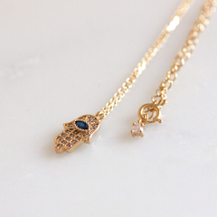 BLUE STONE HAMSA - Necklace