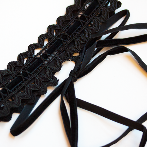 BLACK LACE & VELVET TAPE CHOKER - Necklace