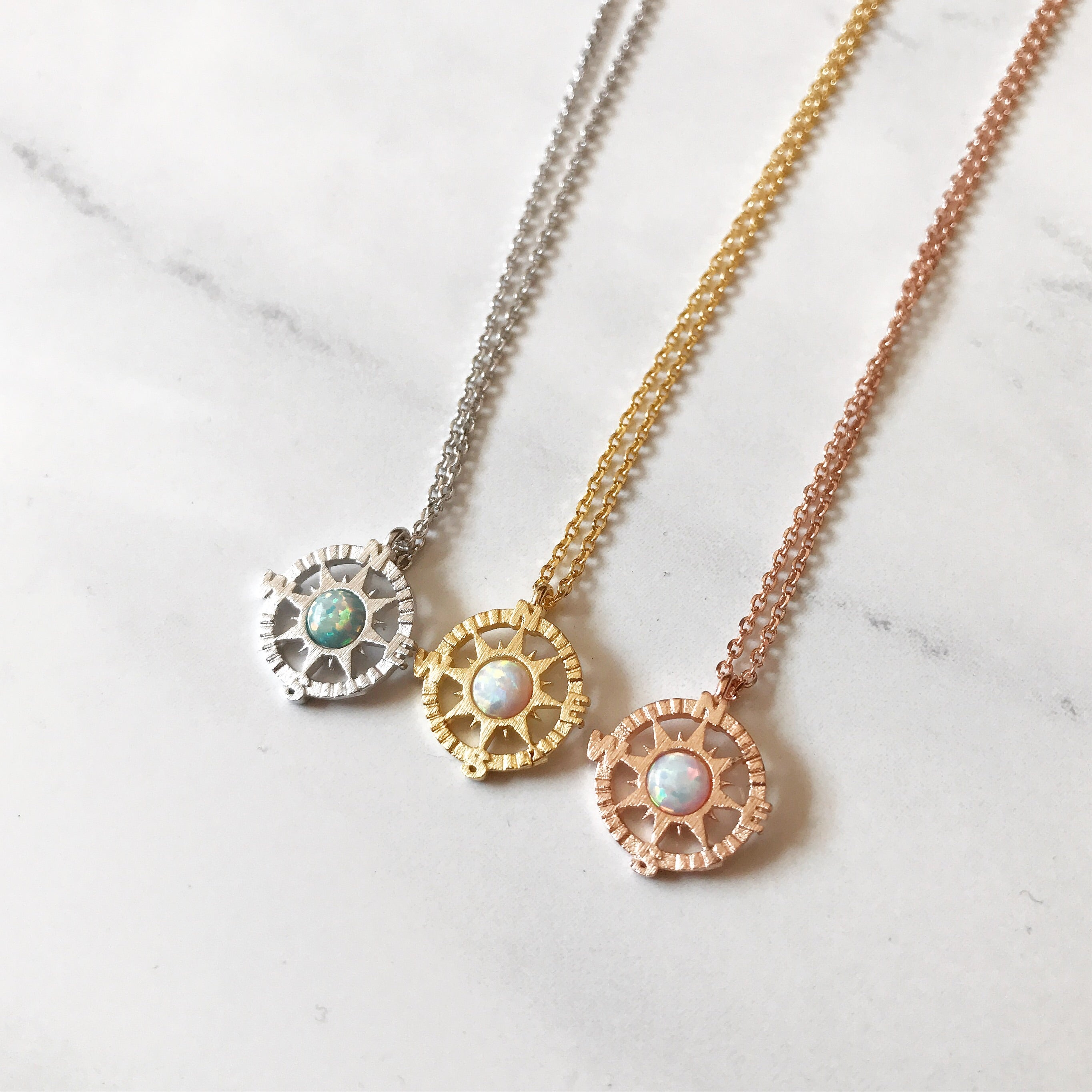 birthstone custom with engravable necklace crystal compass pendant