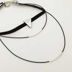 TRIANGLE LAYERED CHOKER SET- Necklace