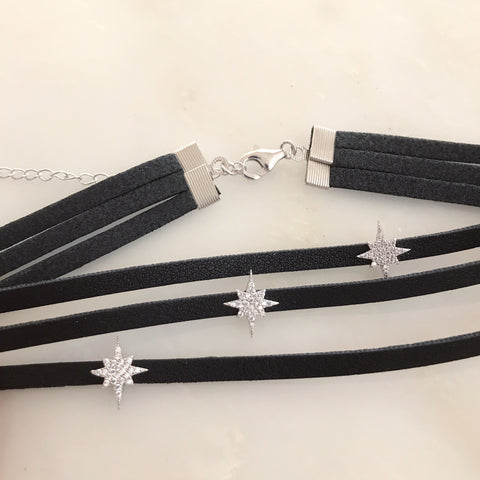 STARBURST BLACK LEATHER CHOKER -Necklace
