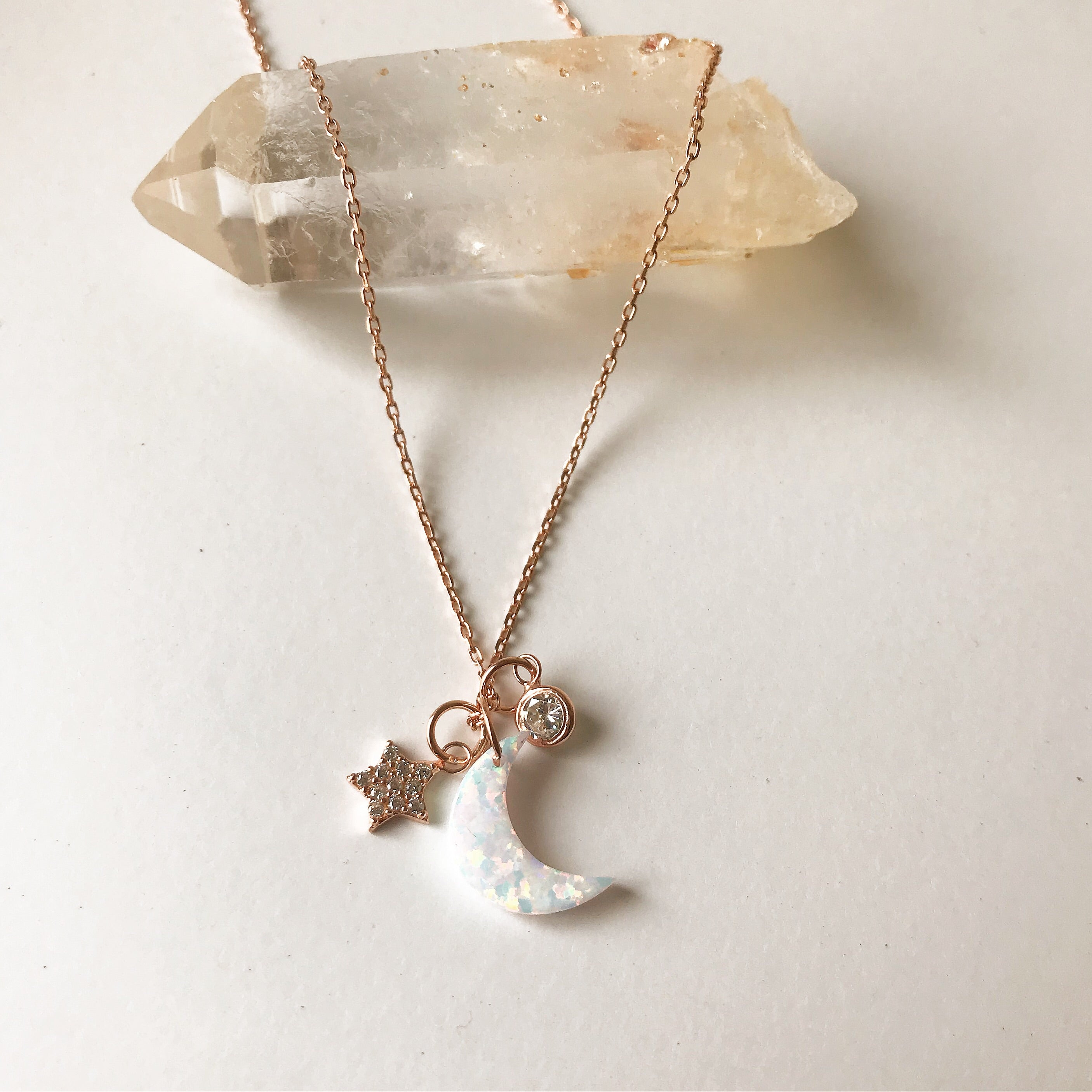 WHITE OPAL MOON WITH TINY CHARMS -Necklaces