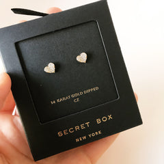 PAVE FOLDED HEARTS -Earrings