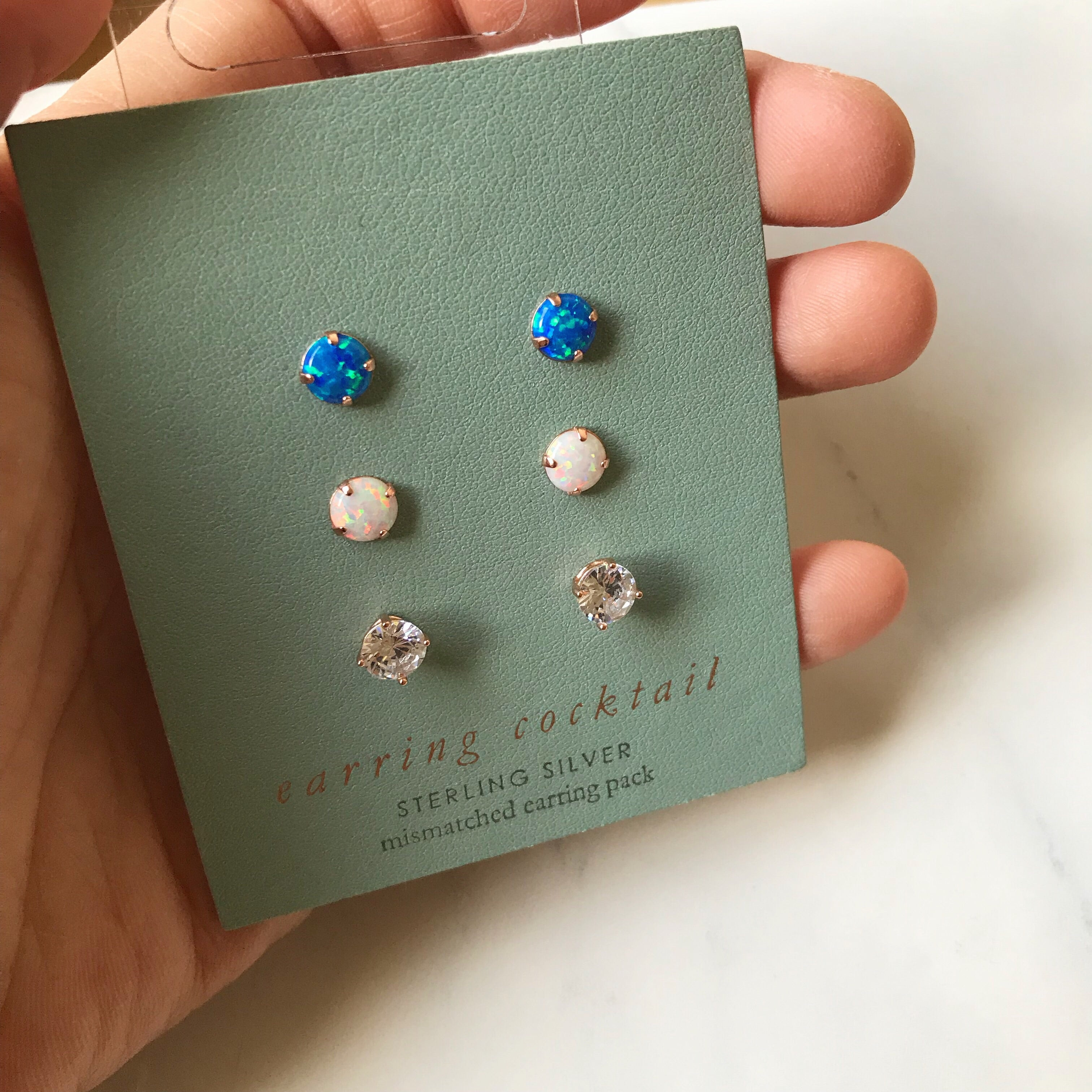 OPAL & CRYSTAL SET -Earrings