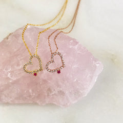 PAVE HEART WITH FUCHSIA -Necklace