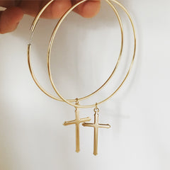 CROSS HOOP -Earrings