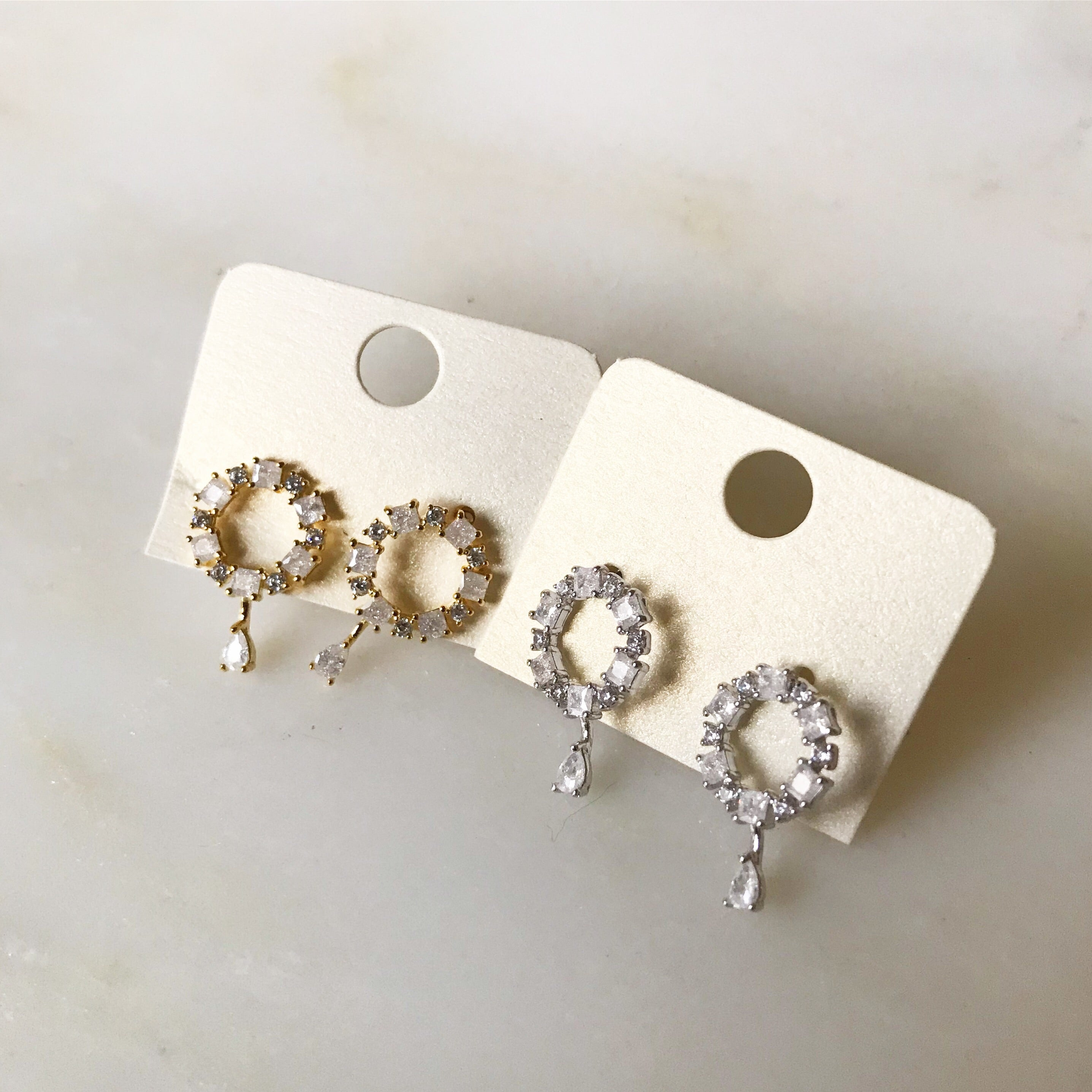 PAVE CIRCLE  WITH CRYSTAL DROP- Earrings