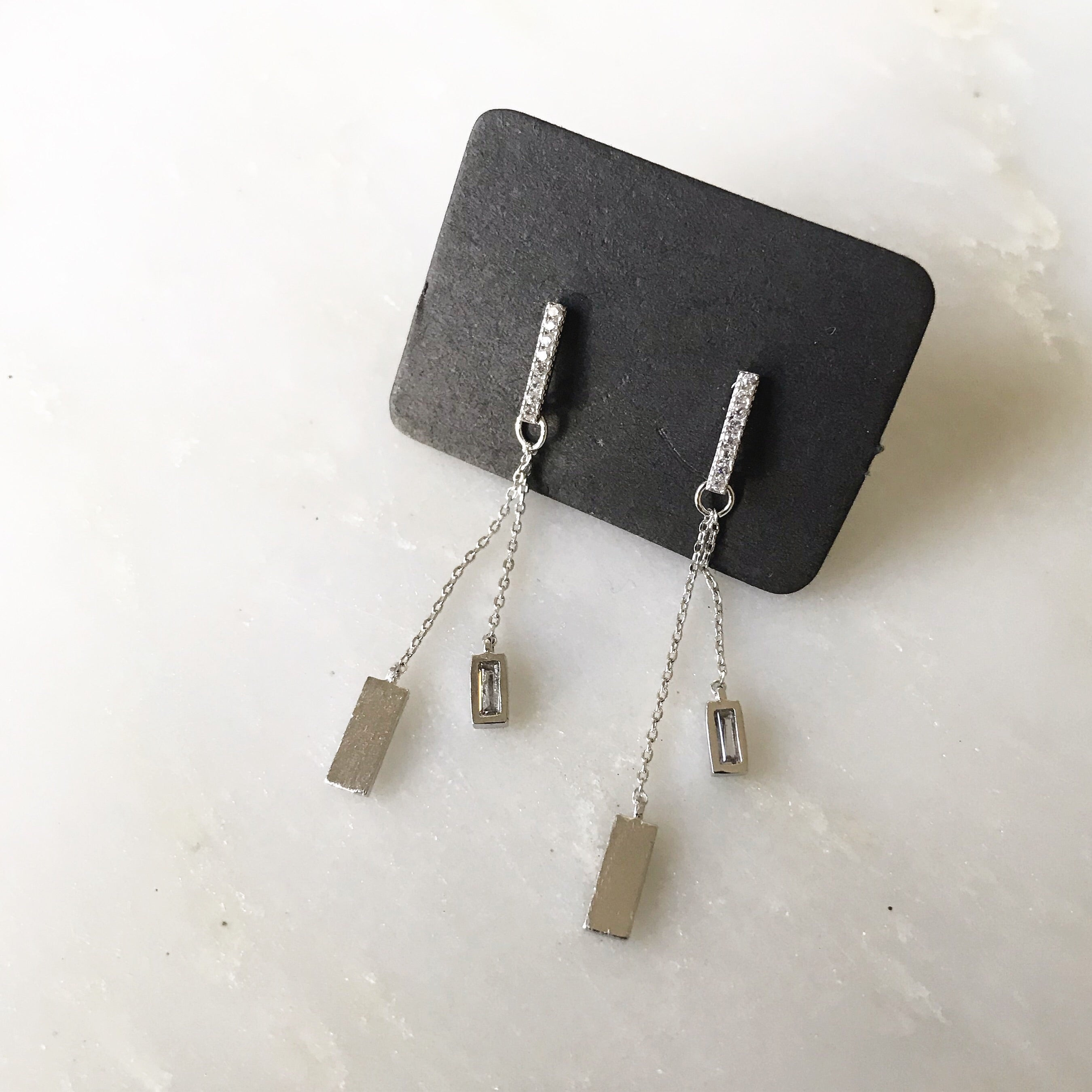 PAVE STICK DANGLE - Earrings