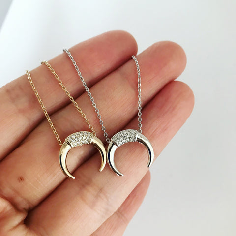 PAVE DOUBLE HORN - Necklace