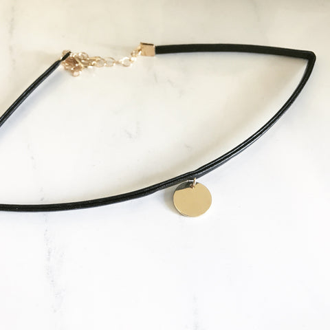 GOLD DISK BLACK CHOKER -Necklace